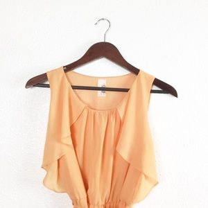 Francesca's Orange Ruffle Waist Tie Dress